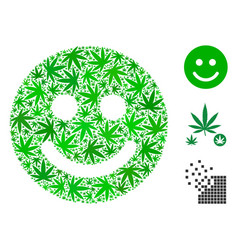Glad smile composition of weed leaves vector