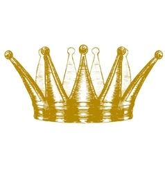 Gold Crown Hand Draw Sketch vector image