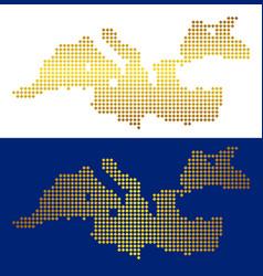 Golden dotted mediterranean sea map vector
