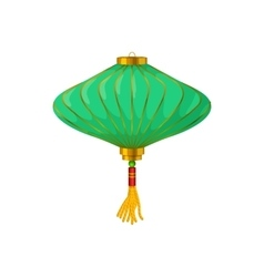 Green chinese paper lantern icon cartoon style vector