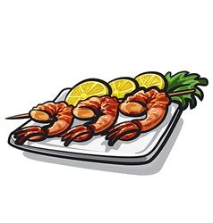 grilled shrimps vector image