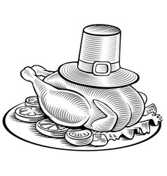 Hand drawing thanksgiving turkey with hat vector