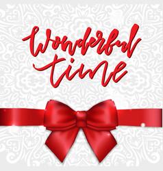 Holiday greeting card with satin ribbon and bow vector