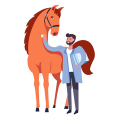 horse and veterinarian man caring for animal vector image