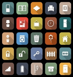 House related flat icons with long shadow vector