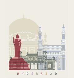 hyderabad skyline poster vector image