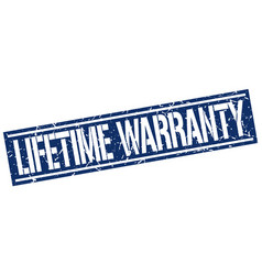 Lifetime warranty square grunge stamp vector