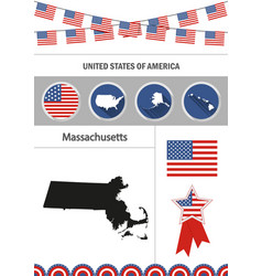 map massachusetts set flat design icons vector image