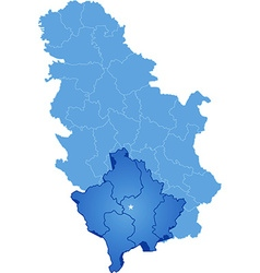 Map of Serbia Autonomous Province of Kosovo and vector