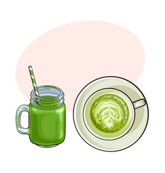 matcha green tea latte and smoothie drinks vector image