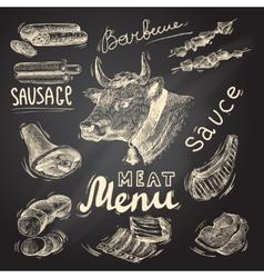 Meat chalkboard set vector