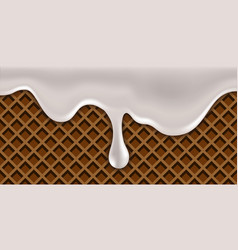milk creamy dripping wave on waffle texture vector image