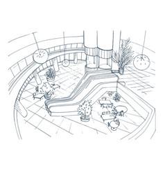 modern interior shopping center mall top view vector image