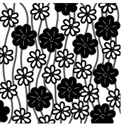 Monochrome background of creepers with flowers vector