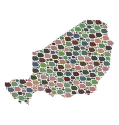 Mosaic map of niger of stones vector