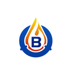 Oil water gas pipe solutions letter b vector