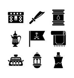 Old traditional heritage icons set vector