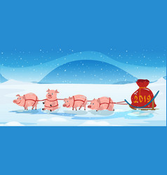pigs sled team and chrismas bag with numbers 2018 vector image