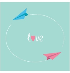 Pink and blue origami paper planes Round dash vector
