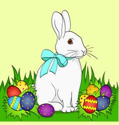 pop art easter bunny on green grass easter eggs vector image