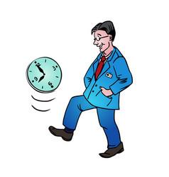Procrastination businessman which delay his work vector