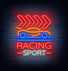 Racing sports neon logo emblem pattern a glowing vector