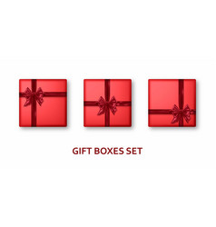 red gift boxes with ribbons and bows realistic vector image