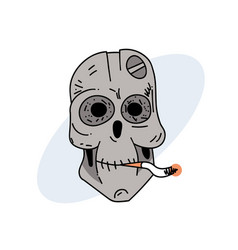 robot skull smoking cigarette vector image