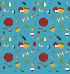 Rosh hashanah holiday flat design icons seamless vector