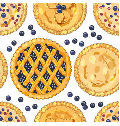 seamless pattern with blueberry pies vector image