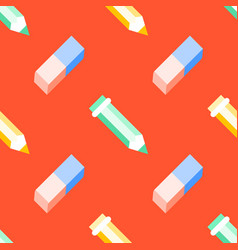 Seamless pattern with pen eraser flat vector