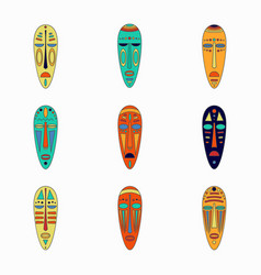 Set colored national ethnick african masks vector