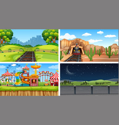 set different landscape vector image
