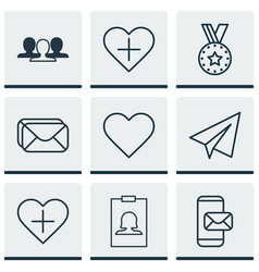 set of 9 social network icons includes add to vector image
