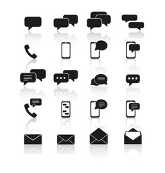Set of contact to us icons with reflection vector