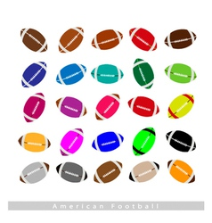 Set of Multi-colored American Footballs on White vector