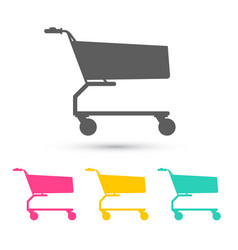 shopping cart icons set trolley icon isolated on vector image