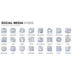 simple set social media line icons for website vector image