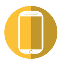 Smartphone mobile technology yellow screen vector