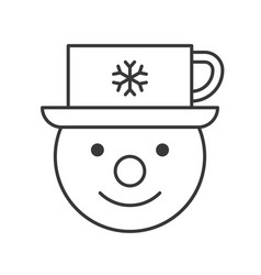 snowman and coffee cup on head outline icon vector image