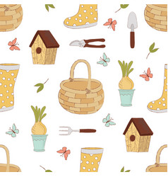 spring craft seamless pattern vector image