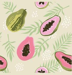 summer pattern with papaya seamless texture design vector image