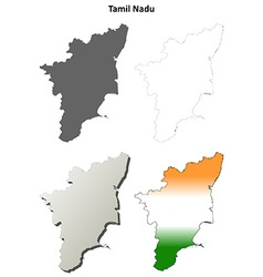 tamil nadu blank outline map set vector image