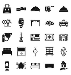 Tourist house icons set simple style vector