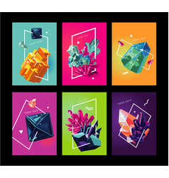 trendy poster collection with crystals abstact vector image