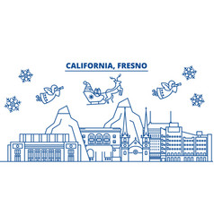 usa arizona fresno winter city skyline merry vector image