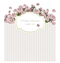 Vintage Invitation Card with Watercolor Flowers vector