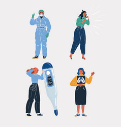women with various sickness vector image