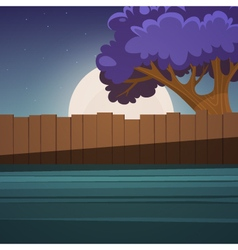 Wooden Fence With Tree vector image