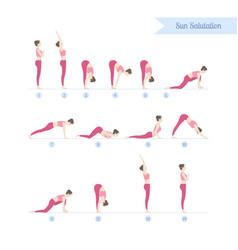 Yoga practice set steps to sun salutations vector